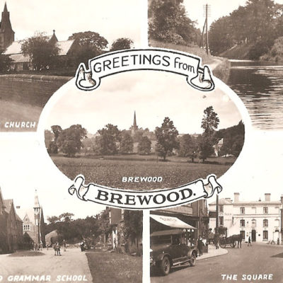 Postcard Greetings From Brewood Postcard - Click to open full size image
